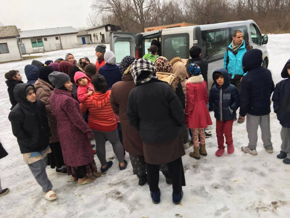 Delivering aid to refugee camp in Serbia