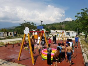 refugee camp playground